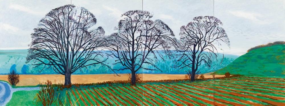 David Hockney, Üç Ağaç, Kanvas Tablo, David Hockney