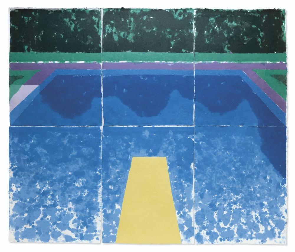 David Hockney, Üç Mavili Gündüz Havuzu, Kanvas Tablo, David Hockney