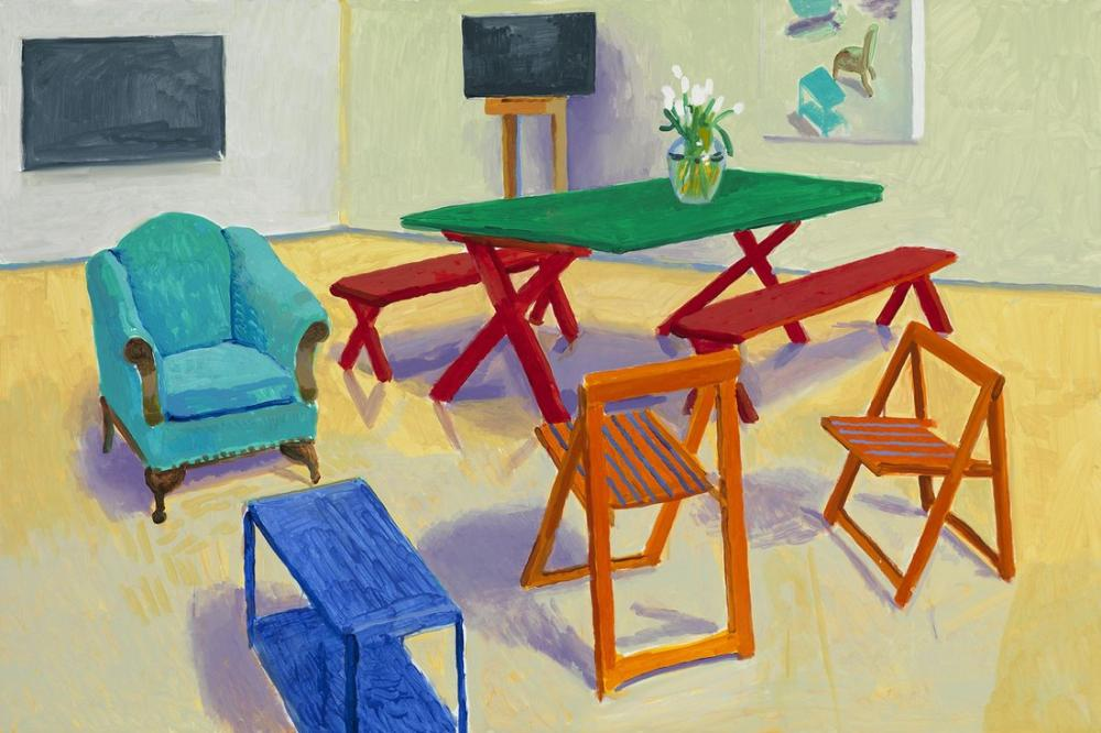 David Hockney, Yemek Odası, Kanvas Tablo, David Hockney