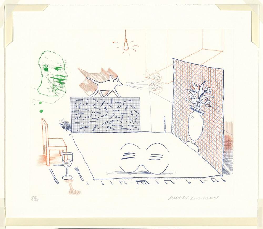 David Hockney, Anlaşmazlık Sadece Büyür 1976, Figür, David Hockney, kanvas tablo, canvas print sales