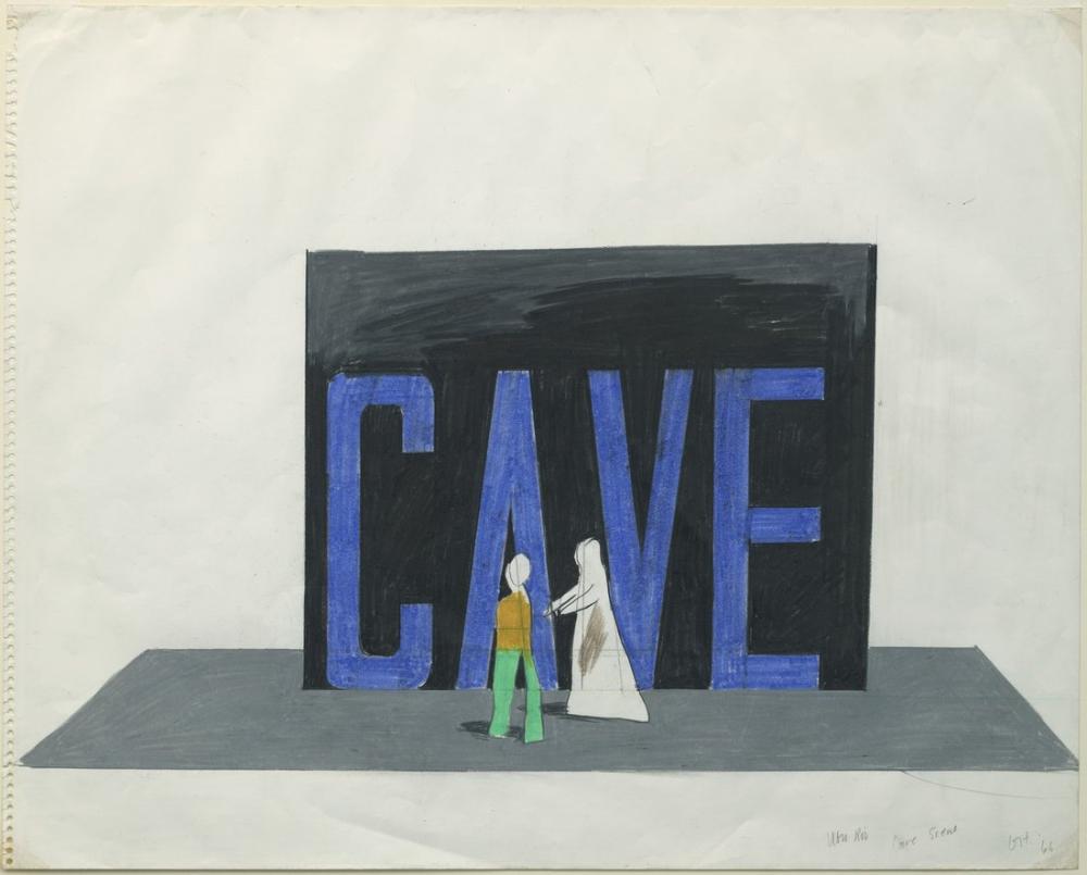 David Hockney, Ubu Roi İçin Çizim, Mağara Sahnesi, Figür, David Hockney
