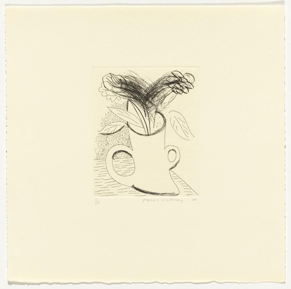 David Hockney, Çift Kulplu Vazoda Çiçekler, Kanvas Tablo, David Hockney