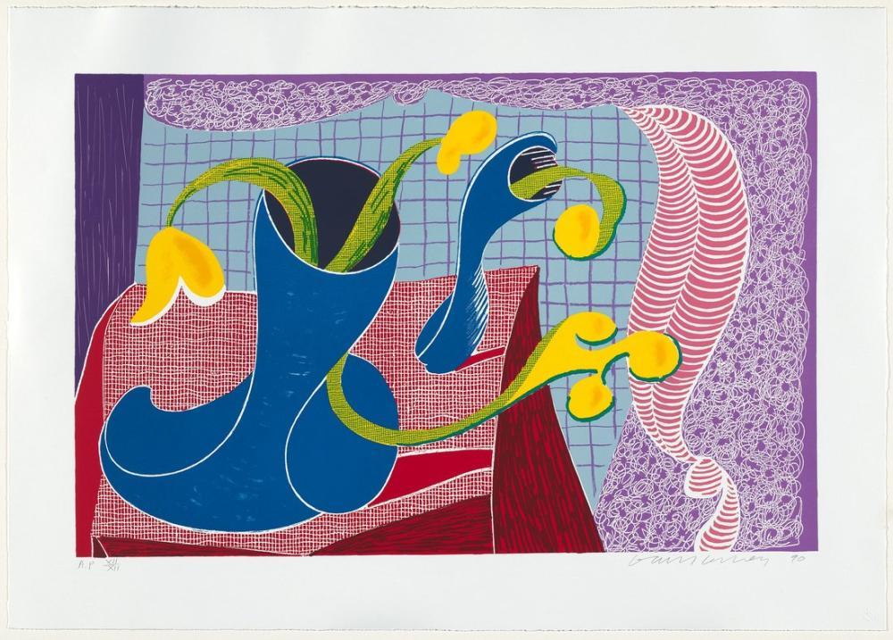 David Hockney, Natürmortda Dört Çiçek 1990, Figür, David Hockney