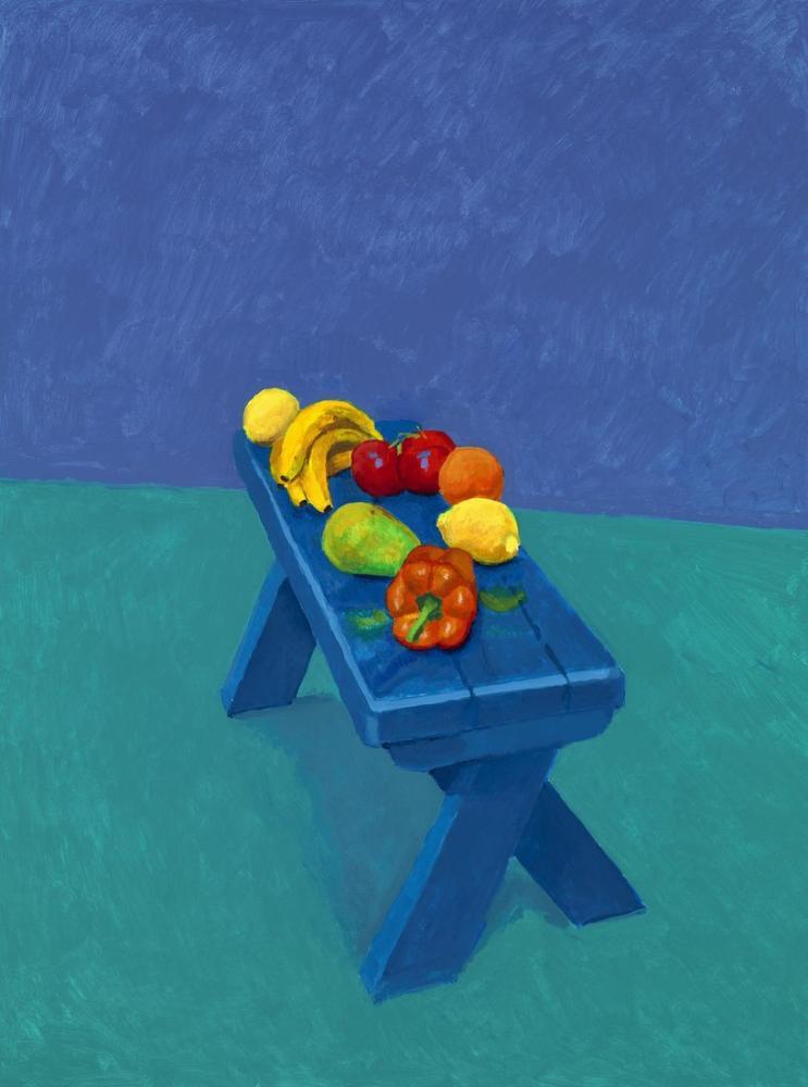 David Hockney, Bir Bankta Meyveler, Kanvas Tablo, David Hockney