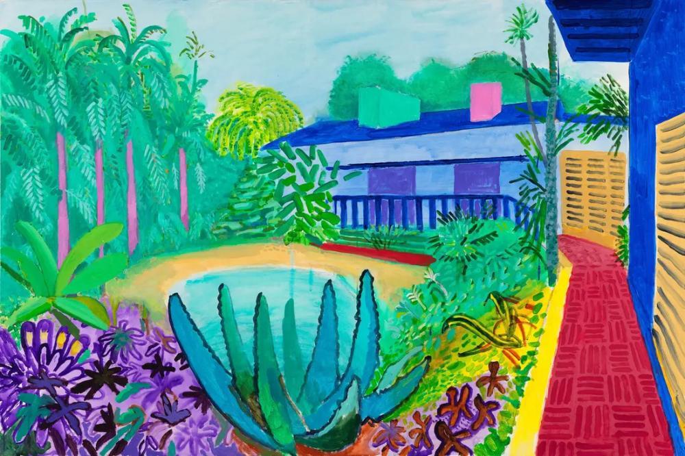 David Hockney, Bahçe, Kanvas Tablo, David Hockney