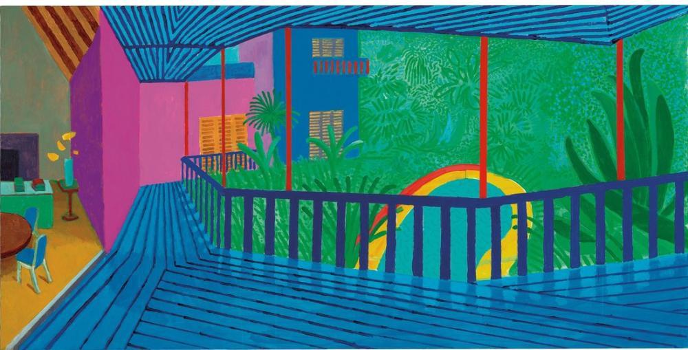 David Hockney, Mavi Teraslı Bahçe, Kanvas Tablo, David Hockney