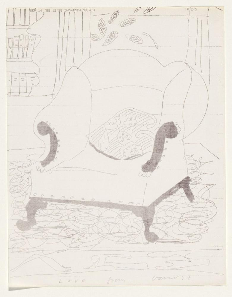 David Hockney, A Message from David at the Beach, Canvas, David Hockney, kanvas tablo, canvas print sales