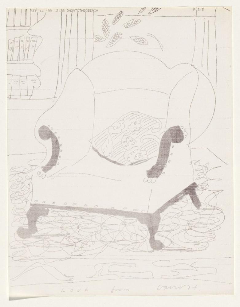 David Hockney, Plajda David'den Bir Mesaj, Kanvas Tablo, David Hockney
