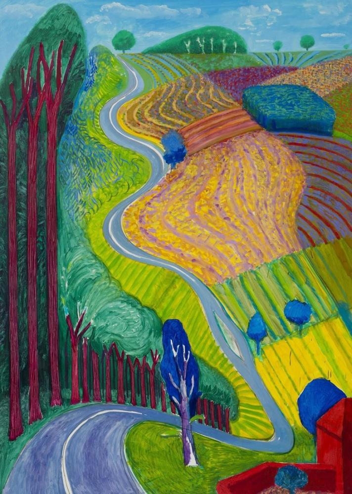 David Hockney, Garrowby Tepesine Çıkmak, Kanvas Tablo, David Hockney