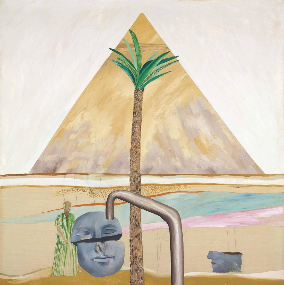 David Hockney, Thebes'ten Kırık Kafalı Giza'daki Büyük Piramit, Figür, David Hockney