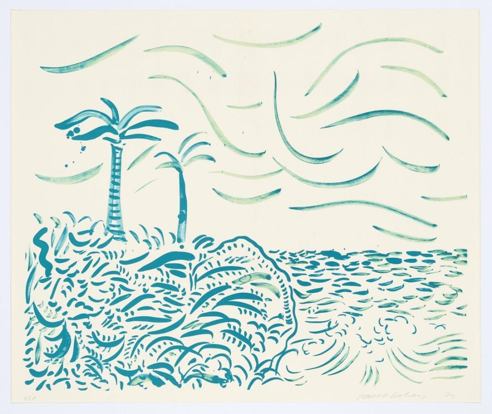 David Hockney, Yeşil Bora Bora 1980, Kanvas Tablo, David Hockney