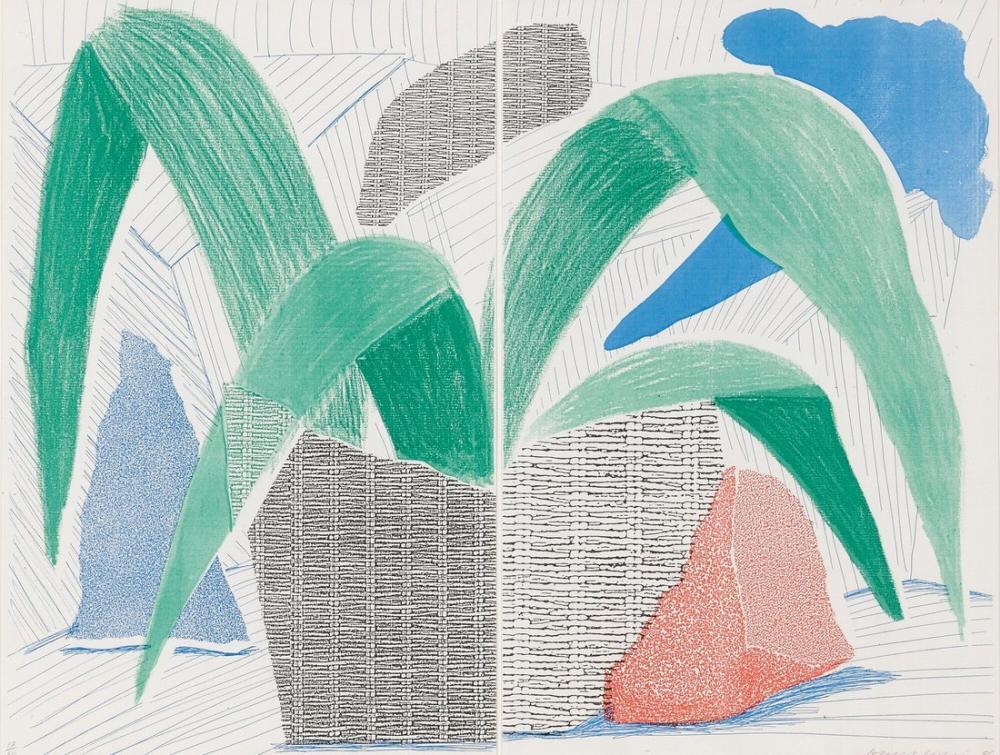 David Hockney, Yeşil Gri ve Mavi, Kanvas Tablo, David Hockney