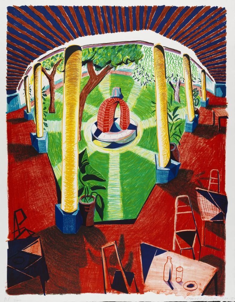 David Hockney, Hockney Otel Kuyusu Manzarası 3, Kanvas Tablo, David Hockney