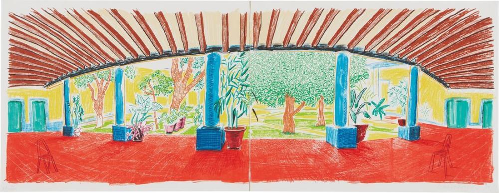 David Hockney, Hotel Acatlán Hareketli Odaktan İlk Gün, Kanvas Tablo, David Hockney