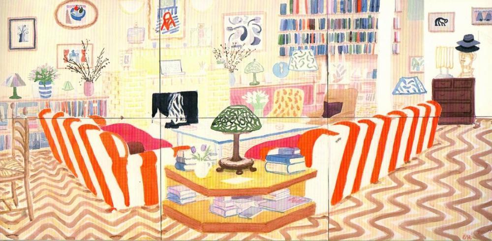 David Hockney, Lambalı İç Mekan, Kanvas Tablo, David Hockney