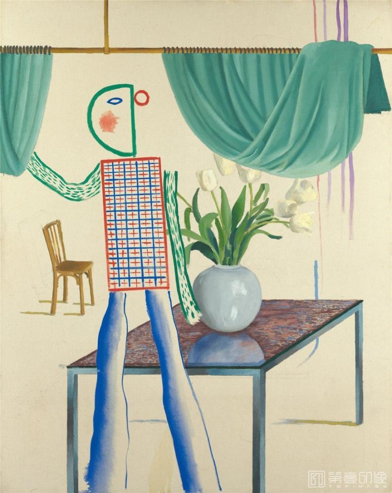 David Hockney, Invented Man Revealing Still Life, Figure, David Hockney, kanvas tablo, canvas print sales