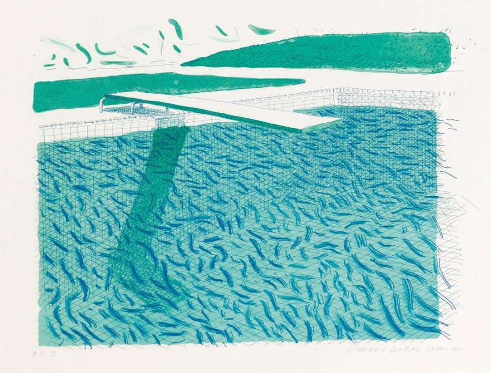 David Hockney, Çizgilerden Yapılmış Litografi Su, Kanvas Tablo, David Hockney
