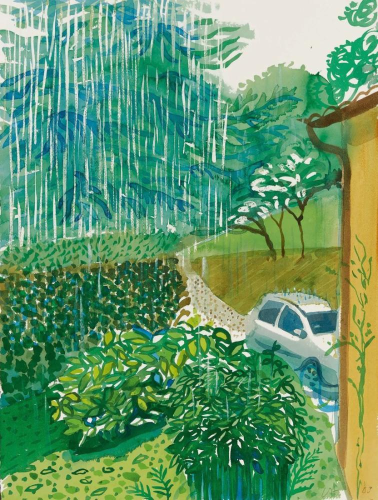 David Hockney, Göl Evi, Como, Yağmur, Kanvas Tablo, David Hockney