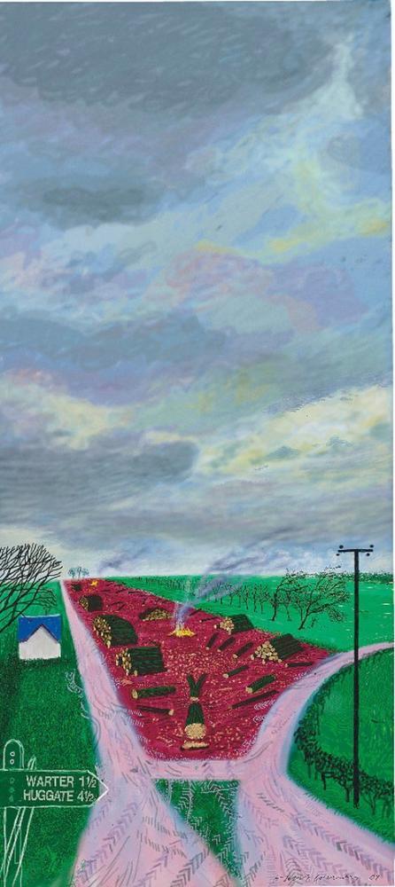 David Hockney, Warter Yakınlarında Daha Az Ağaç, Kanvas Tablo, David Hockney