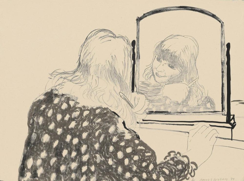 David Hockney, Ann Saçını Tarıyor, Figür, David Hockney, kanvas tablo, canvas print sales