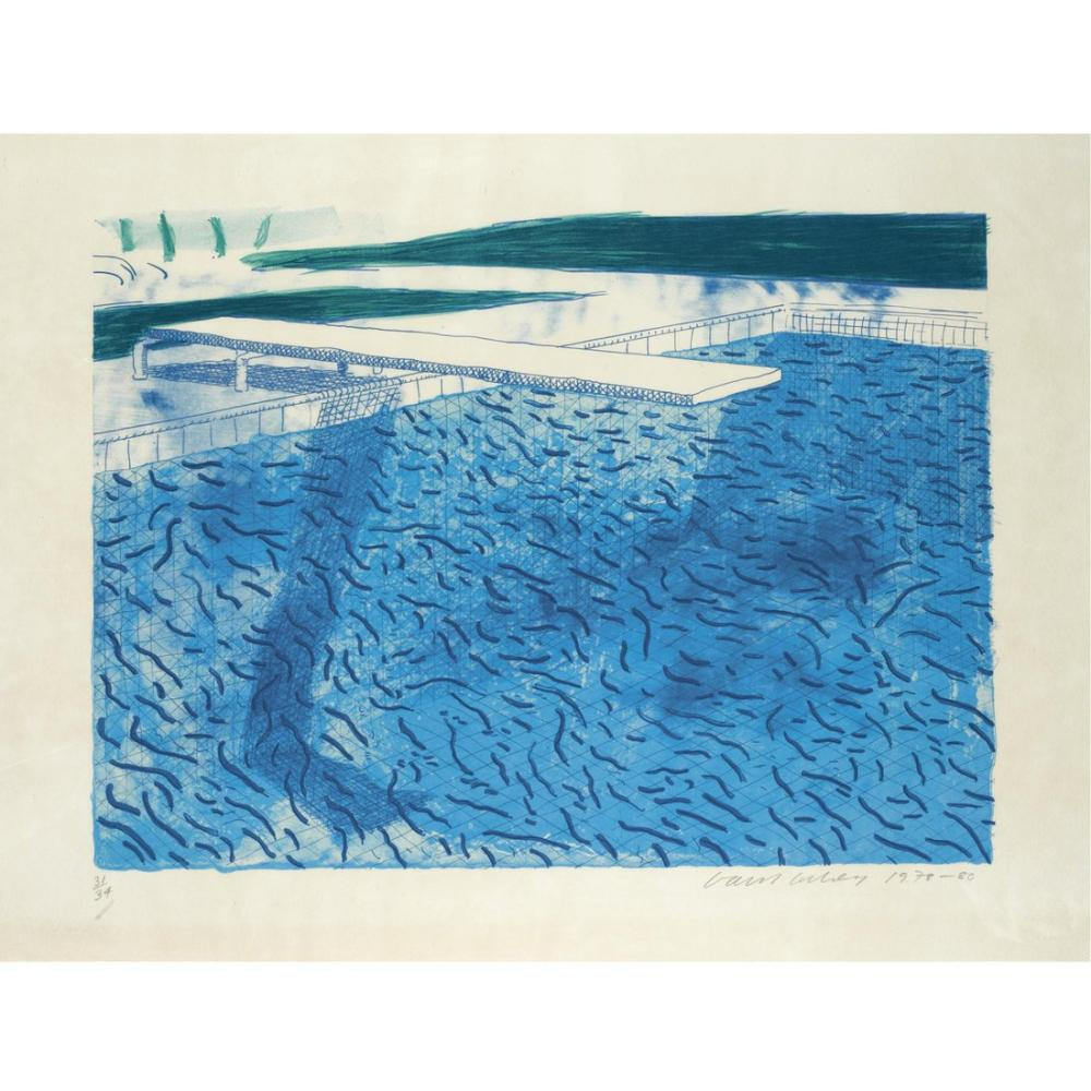 David Hockney, Litografik Su, Kanvas Tablo, David Hockney