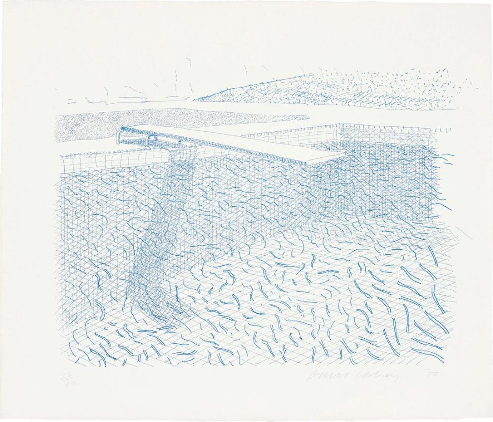 David Hockney, Çizgilerden Oluşan Litografik Su, Kanvas Tablo, David Hockney