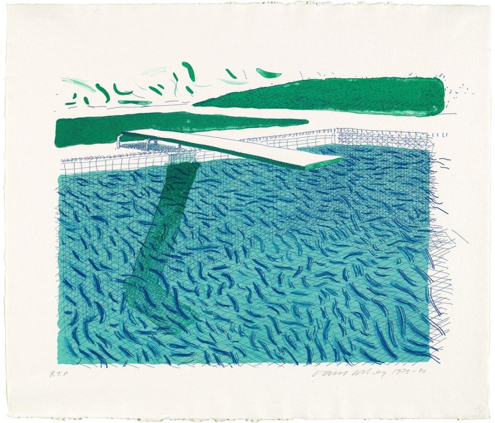 David Hockney, Çizgilerden, Mum Boya ve Mavi Bir Yıkamadan Oluşan Litografik Su, Kanvas Tablo, David Hockney