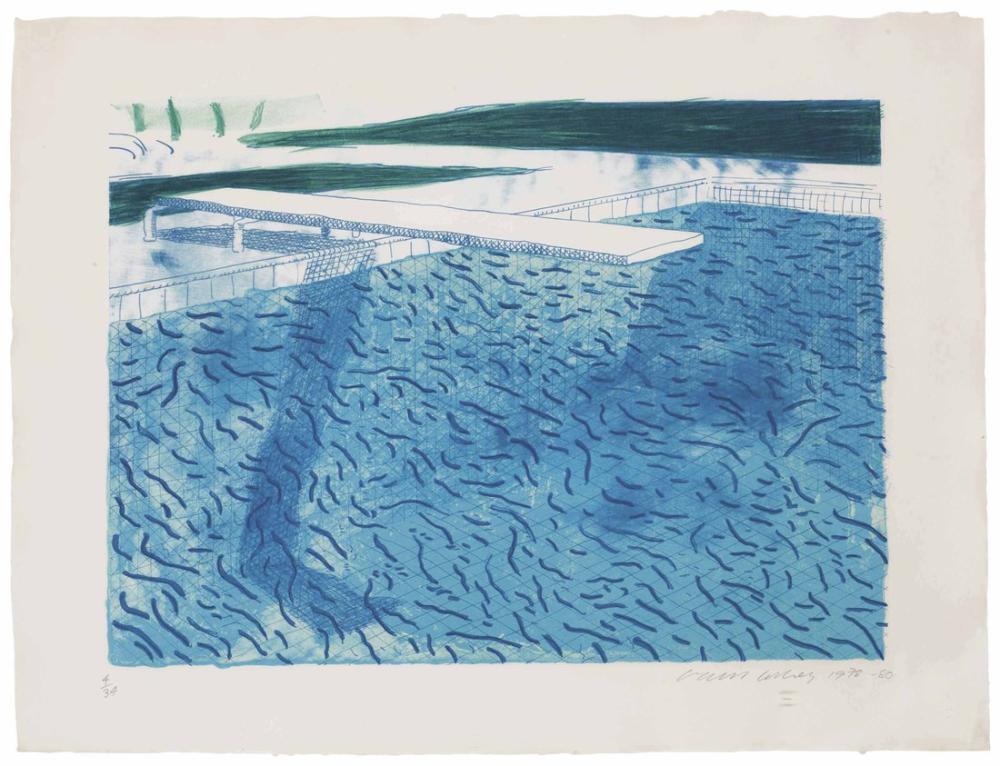 David Hockney, Kalın ve İnce Çizgilerden Oluşan Litografik Su, Yeşil Yıkama, Açık Mavi Yıkama ve Koyu Mavi Yıkama, Kanvas Tablo, David Hockney
