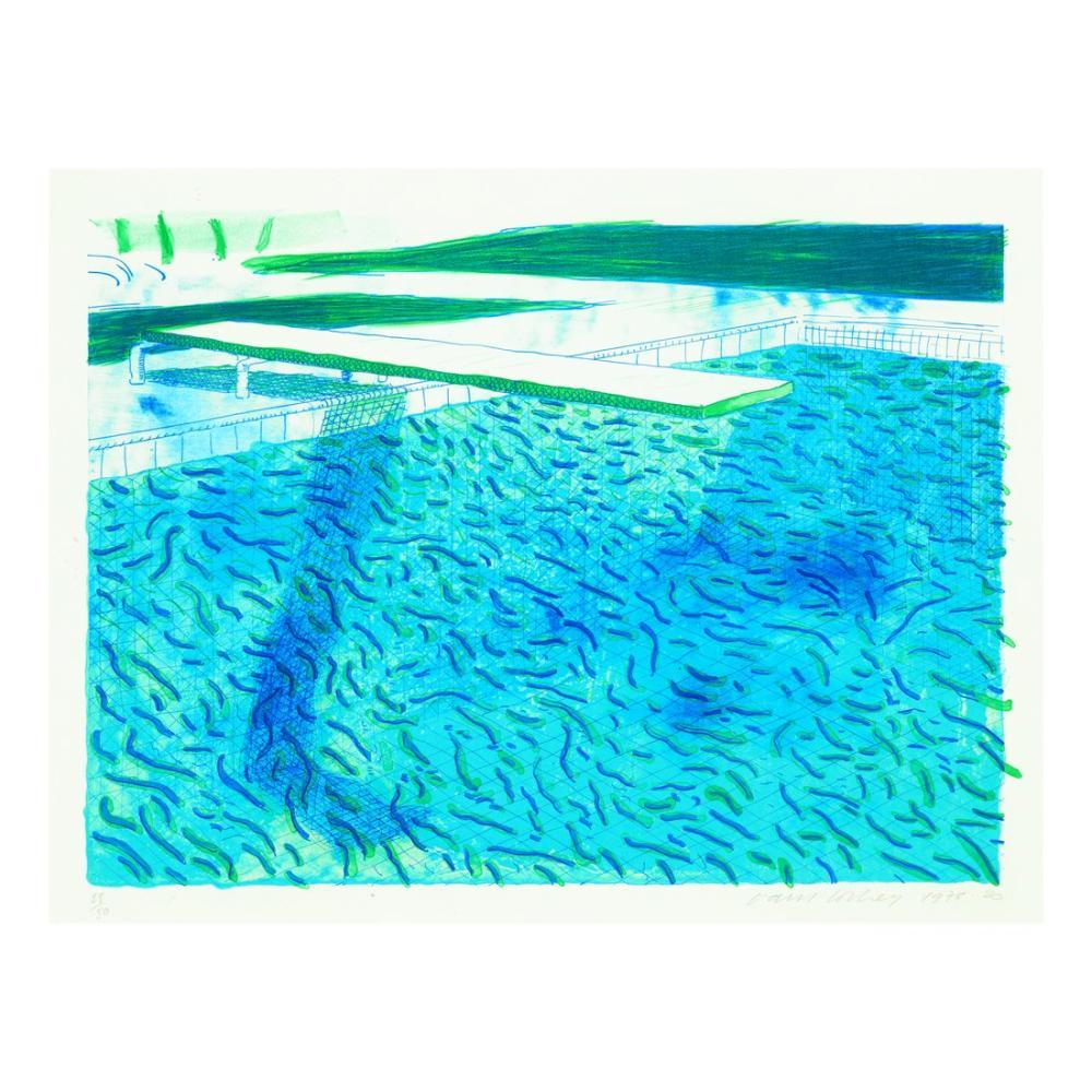 David Hockney, Kalın ve İnce Hatlardan Yapılmış Su Lıtografisi, Yeşil Yıkama, Açık Mavi Yıkama ve Koyu Mavi Yıkama, Kanvas Tablo, David Hockney