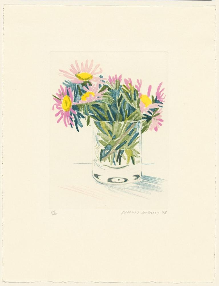 David Hockney, Papatyalar 1973, Kanvas Tablo, David Hockney