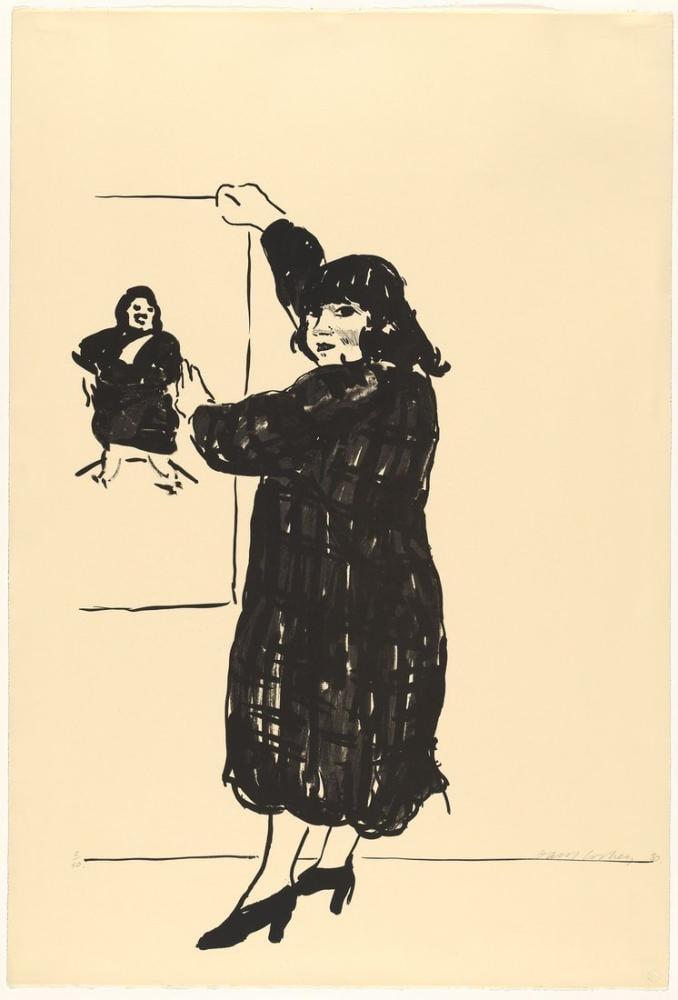David Hockney, Ann Resmine Bakıyor, Figür, David Hockney, kanvas tablo, canvas print sales