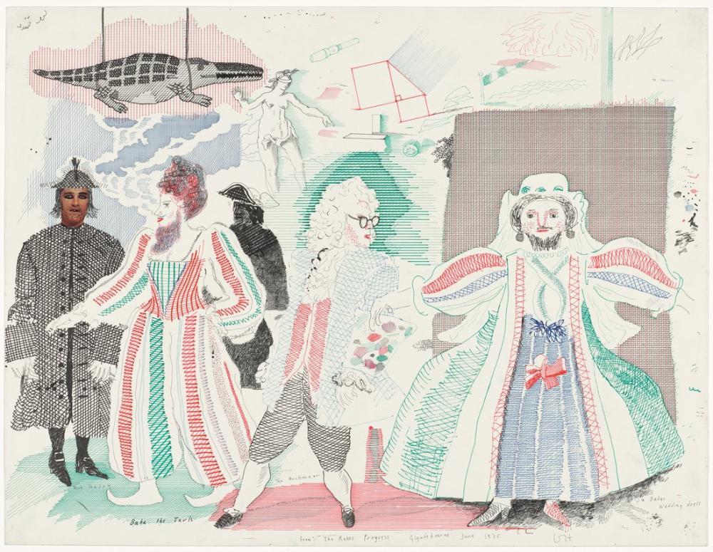 David Hockney, Opera İçin Sahne Yönü, Figür, David Hockney, kanvas tablo, canvas print sales