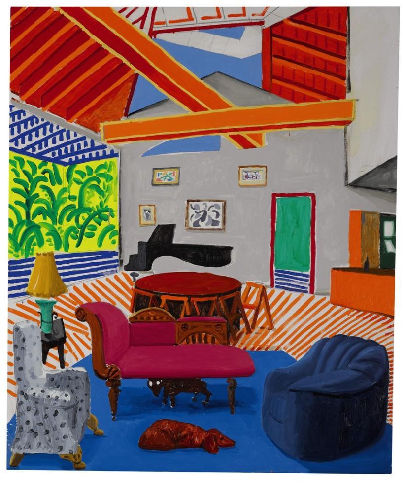 David Hockney, İki Köpek Posteri ile Montcalm İç Mekanı, Kanvas Tablo, David Hockney