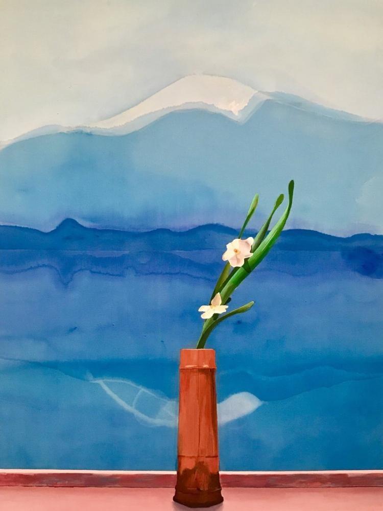 David Hockney, Fuji Dağı ve Çiçekler, Kanvas Tablo, David Hockney