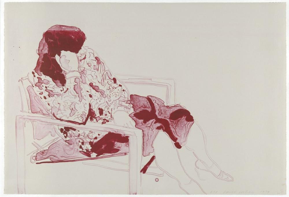 David Hockney, Ann Bir Yönetmen Koltuğunda Oturuyor, Figür, David Hockney, kanvas tablo, canvas print sales