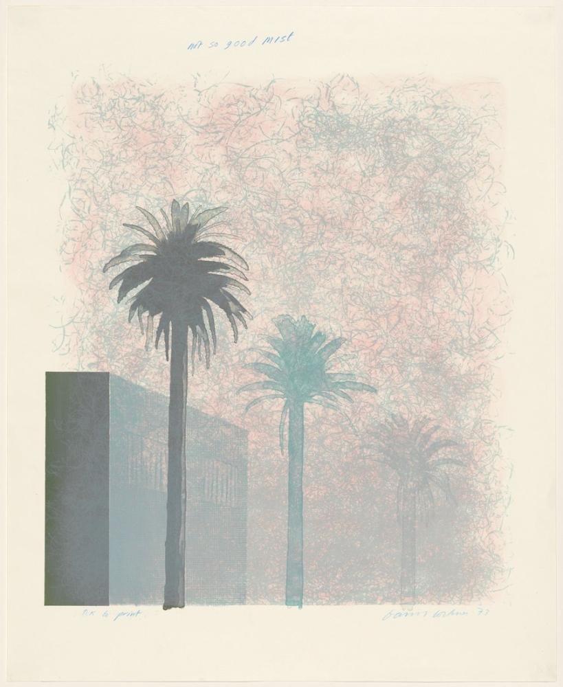 David Hockney, Çok İyi Bir Sis Değil 1973, Kanvas Tablo, David Hockney, kanvas tablo, canvas print sales