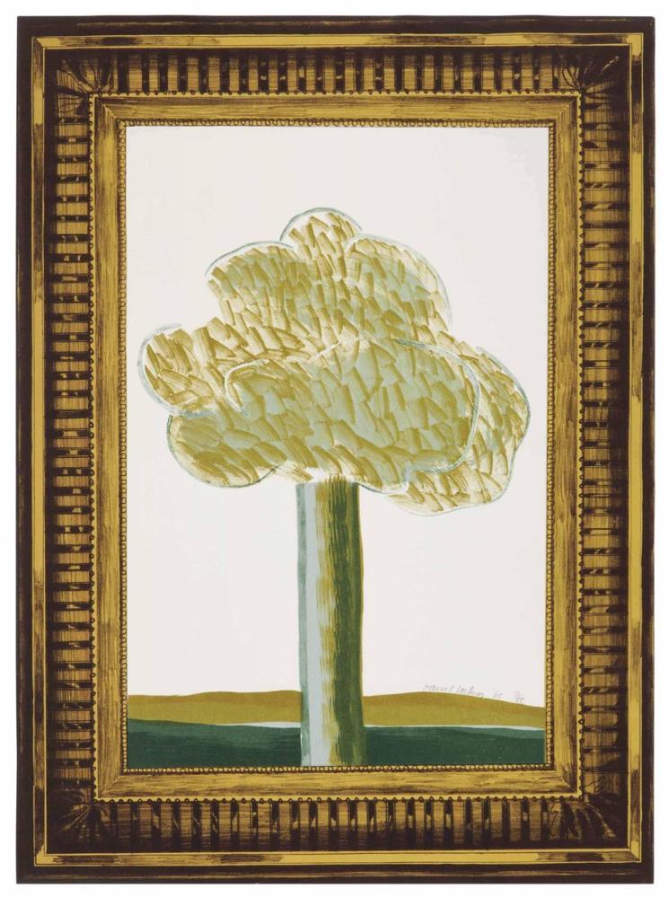 David Hockney, Ayrıntılı Altın Çerçeve İçinde Bir Manzara Resmi, Kanvas Tablo, David Hockney