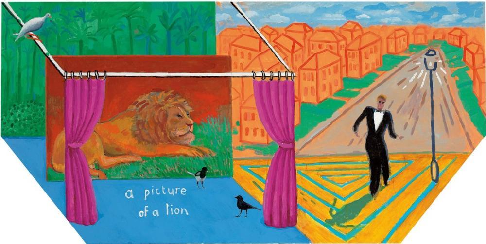 David Hockney, A Picture of A Lion, Figure, David Hockney, kanvas tablo, canvas print sales