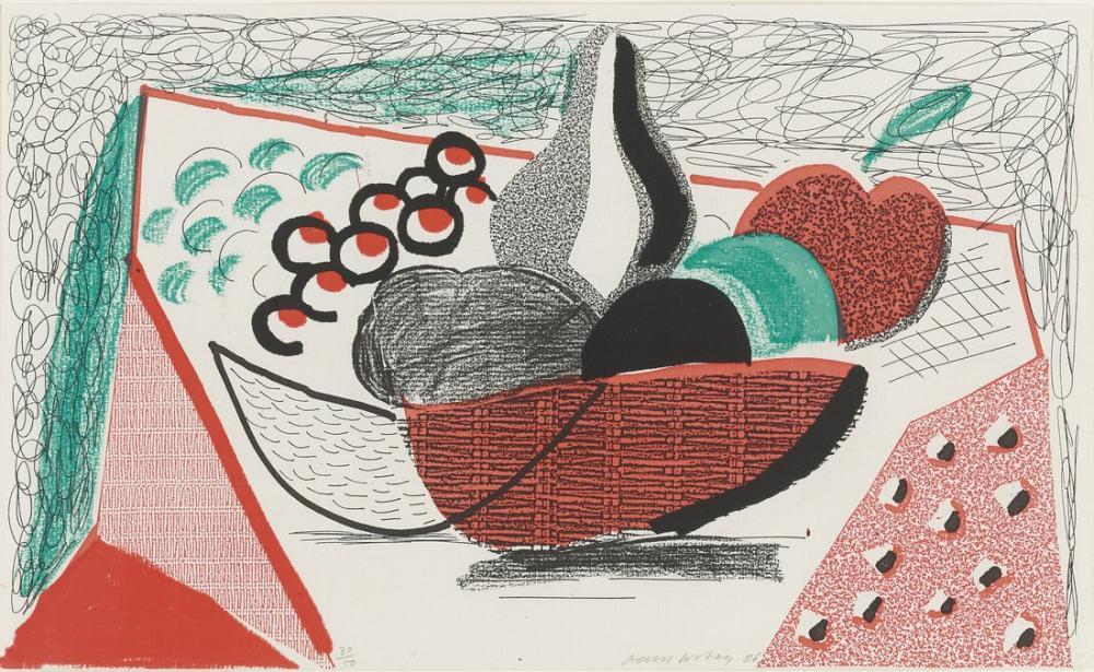 David Hockney, Elmalar, Armutlar ve Üzümler, Figür, David Hockney
