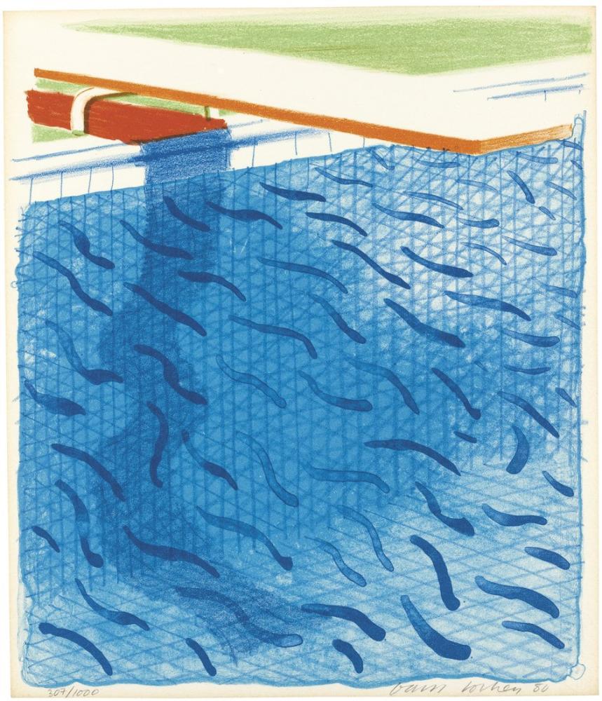 David Hockney, Kitap İçin Kağıt ve Mavi Mürekkeple Yapılan Havuz, Kanvas Tablo, David Hockney