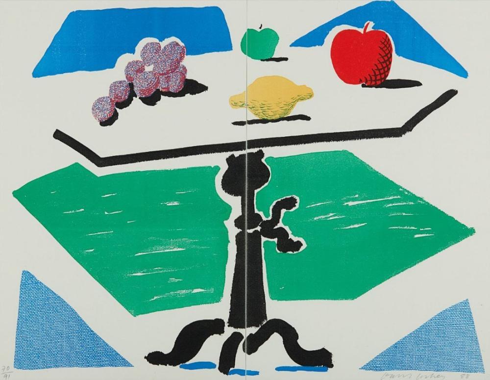 David Hockney, Apples, Grapes and Lemon on a Table, from Brooklyn Academy of Music, Canvas, David Hockney, kanvas tablo, canvas print sales