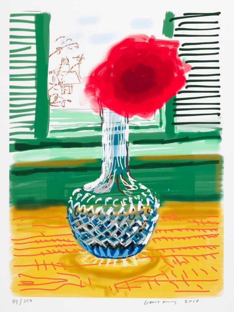 David Hockney, Vazoda Kırmızı Çiçek, Kanvas Tablo, David Hockney