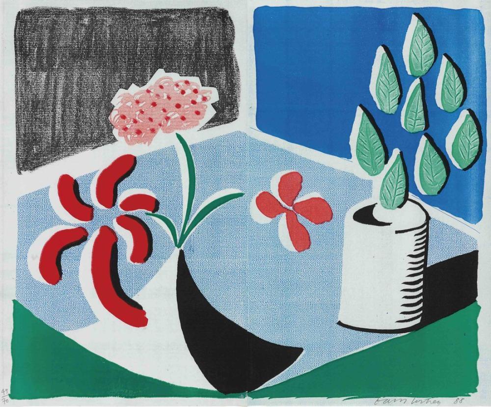David Hockney, Kırmızı Çiçekler ve Yeşil Yapraklar, Kanvas Tablo, David Hockney