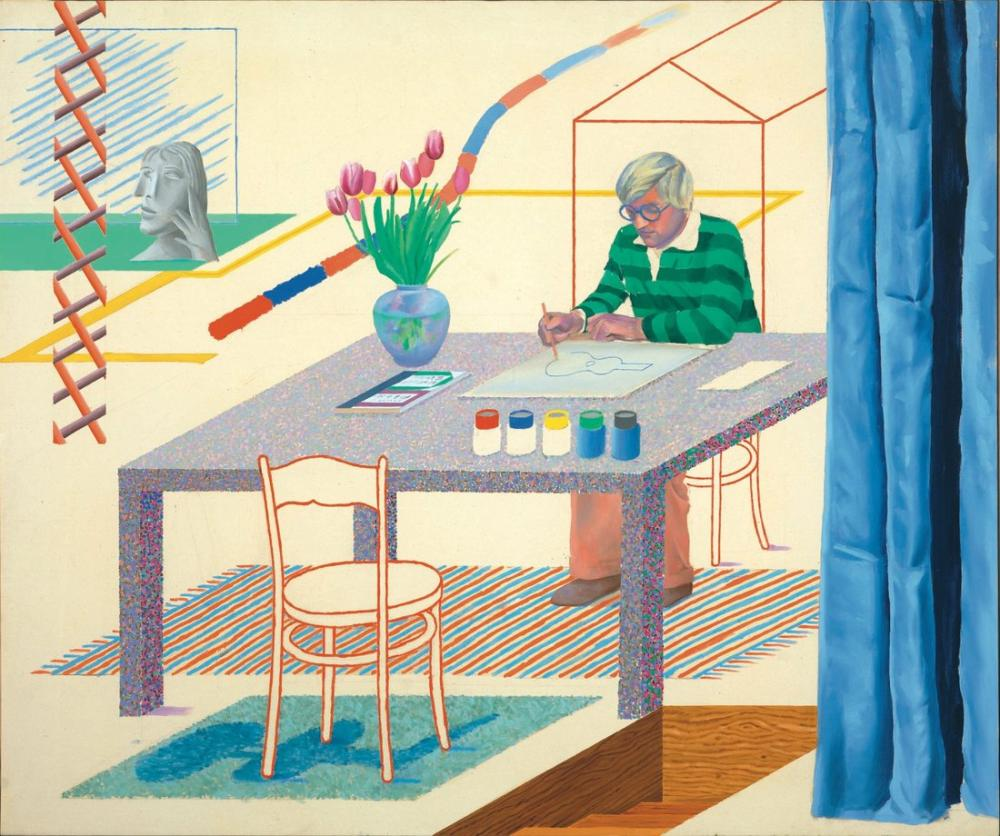 David Hockney, Mavi Gitar ile Otoportre, Figür, David Hockney, kanvas tablo, canvas print sales