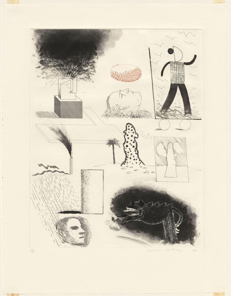 David Hockney, Maurice e Şeker Asansörü Gösteriliyor, Figür, David Hockney, kanvas tablo, canvas print sales