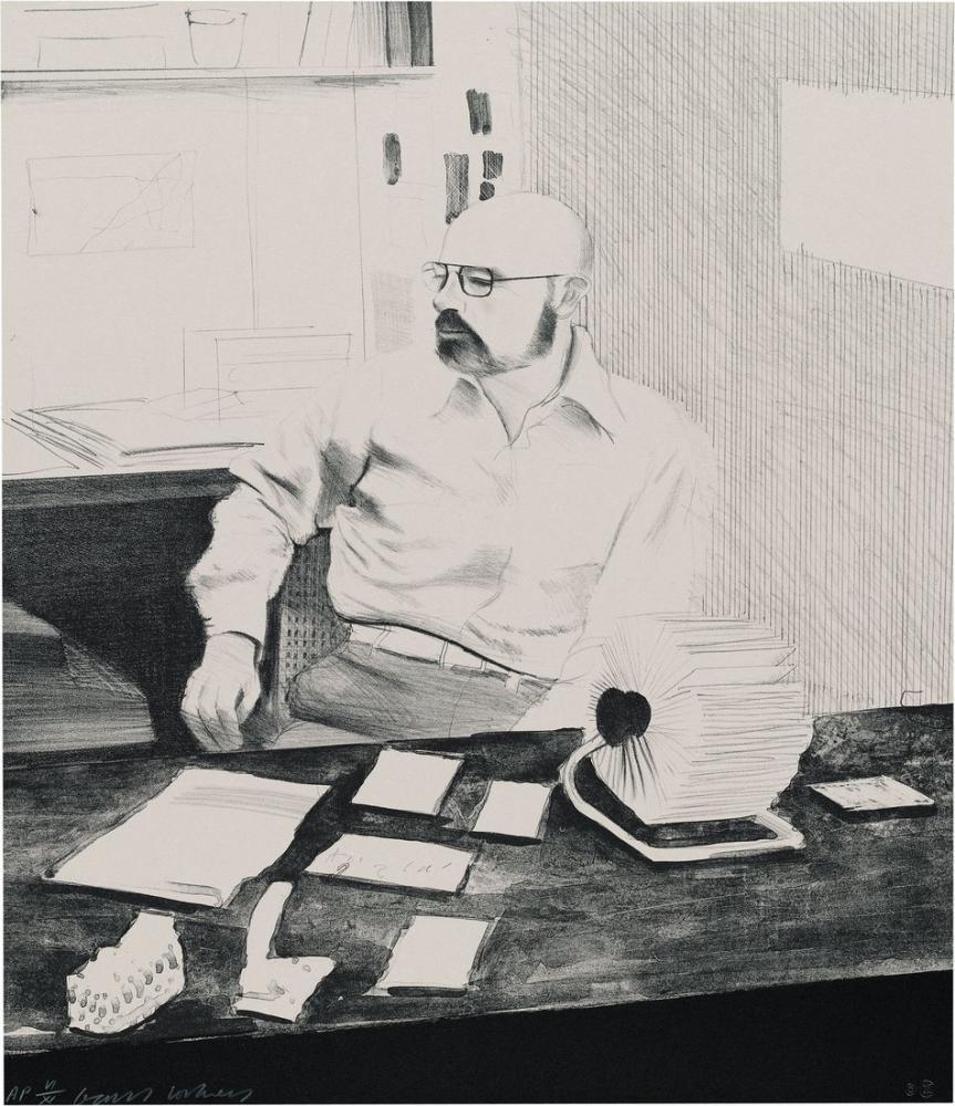 David Hockney, Sidney in His Office 1976, Figure, David Hockney, kanvas tablo, canvas print sales