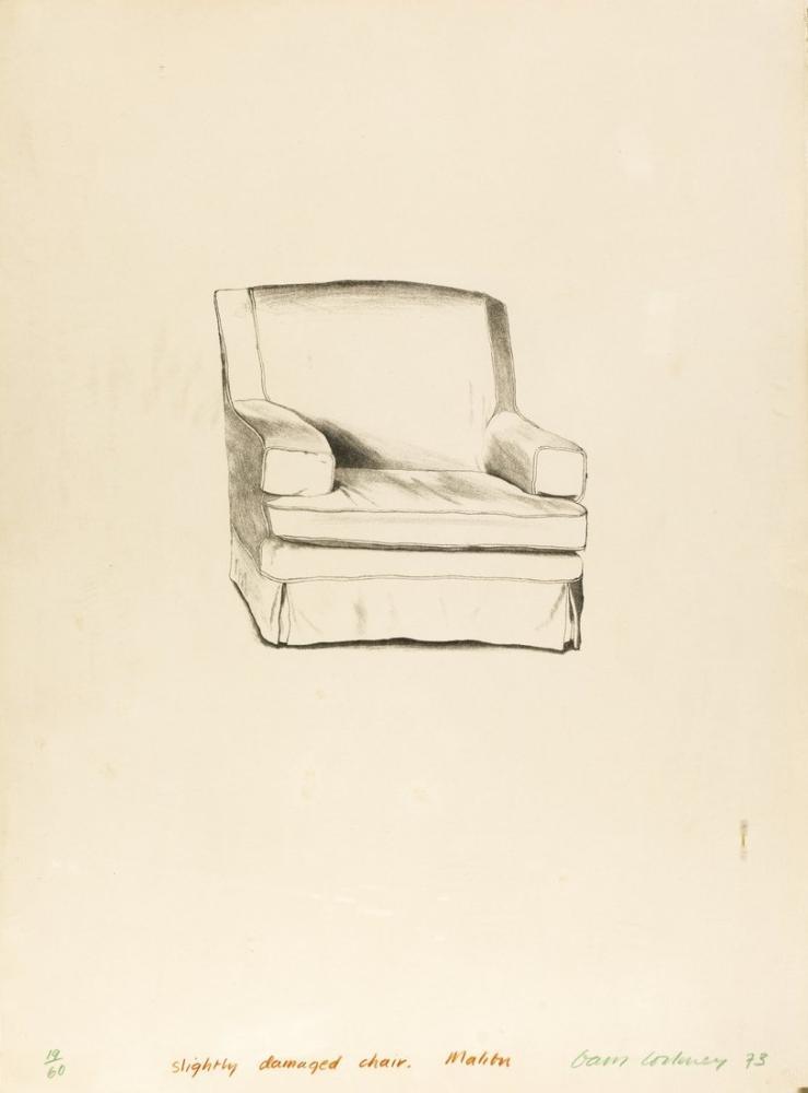 David Hockney, Hafif Hasarlı Sandalye, Kanvas Tablo, David Hockney