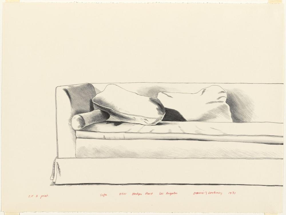 David Hockney, Sofa 8501 Çit Yeri Los Angeles, Kanvas Tablo, David Hockney