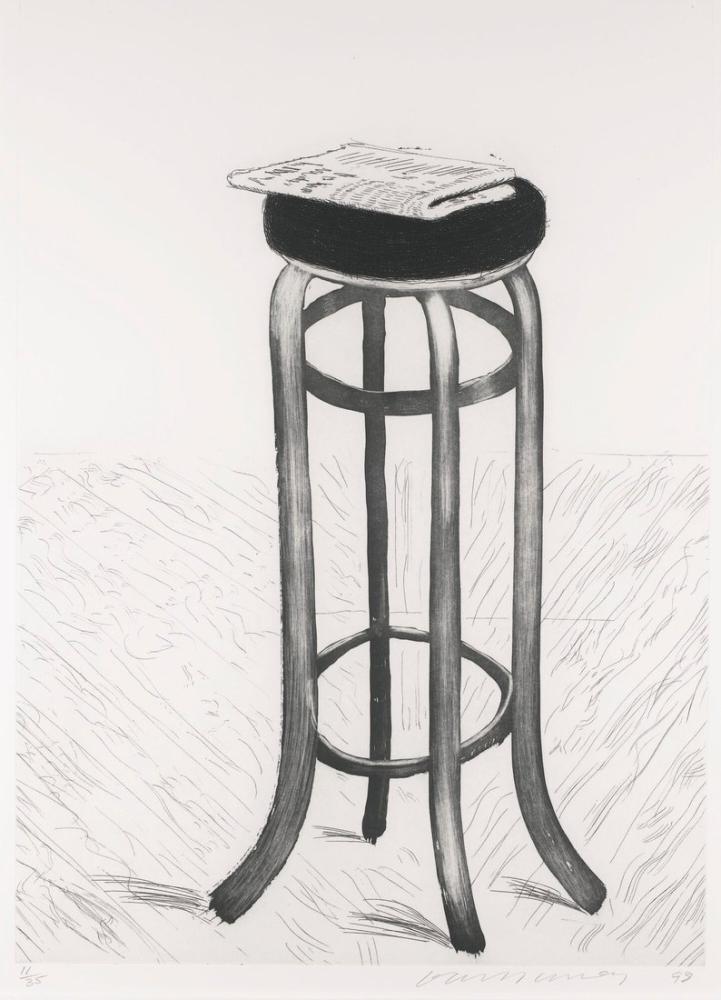 David Hockney, Gazete ile Çelik Tabure, Kanvas Tablo, David Hockney