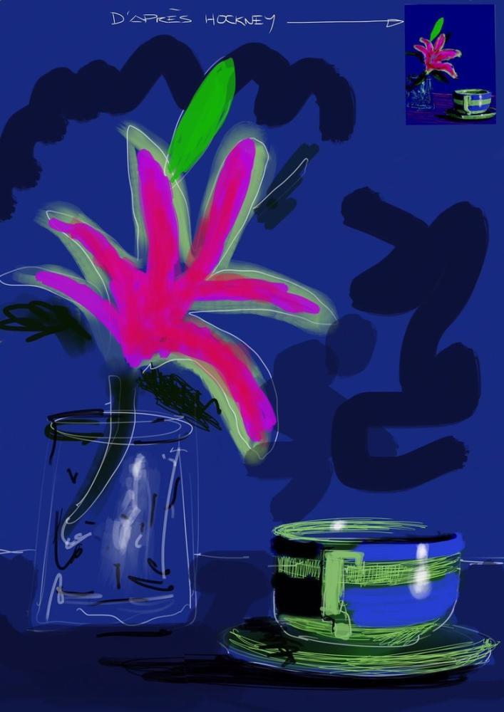 David Hockney, Natürmort Çiçek ve Kupa ile, Figür, David Hockney